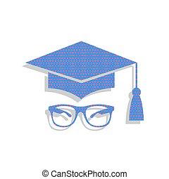 Mortar Board or Graduation Cap with glass. Vector. Neon blue ico