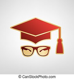 Mortar Board or Graduation Cap with glass. Vector. Red icon on gold sticker at light gray background.