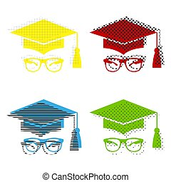 Mortar Board or Graduation Cap with glass. Vector. Yellow, red,