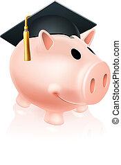 Mortar Board Piggy bank - Piggy bank wearing an academic...
