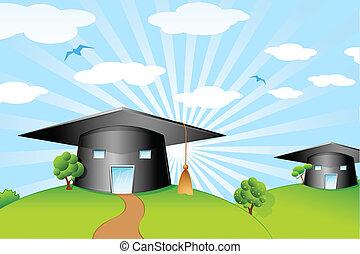 Mortar Board Shape School - illustration of mortar board...