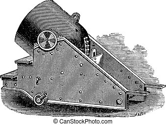 Mortar cannon vintage engraving.