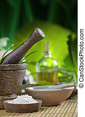 mortar - Close up view of spa theme objects on natural...