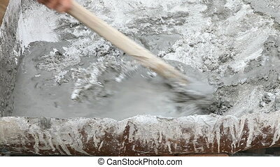 Mortar mixing with hoe tool