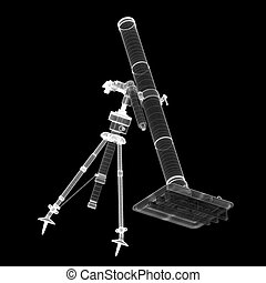 Mortar mobile gun - Mortar mobile on background, body...
