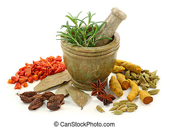 Mortar with fresh rosemary and dried spices isolated on...