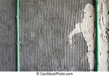 Mortar wall glue plaster comb surface prepared for tiling -...