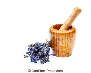 Mortar with dry lavender