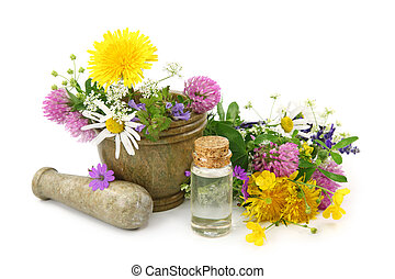 Mortar with fresh flowers and essential oil isolated on...