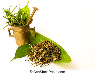 Mortar with herbal, and leaves