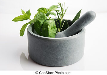 mortar with herbs isolated on a white background