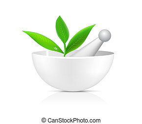 Mortar with herbs isolated illustration on white background