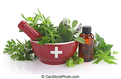 Mortar with medicine cross, fresh herbs and essential oil ...