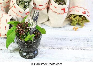 Mortar with oregano, basil and sage herb