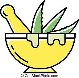 Mortar with pestle color icon. Graining leaves. Aloe vera ...