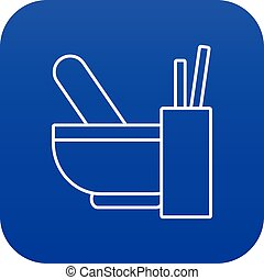 Mortar with pestle icon blue vector