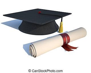 mortarboard, 以及, 畢業証書