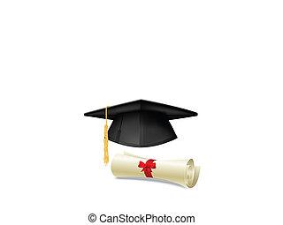 Mortarboard and diploma - Black graduation cap, mortarboard...