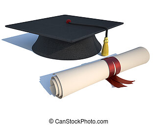 Graduation cap and diploma - rendered in 3d