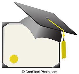 mortarboard, boné graduação, &, diploma, certificado