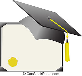 For cap & gown day: gray mortar board graduation cap & gold tassle, with diploma certificate.