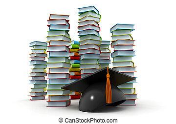 mortarboard, książki, stóg, skala
