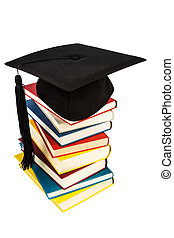 mortarboard on books stack - a mortarboard on a book stack,...