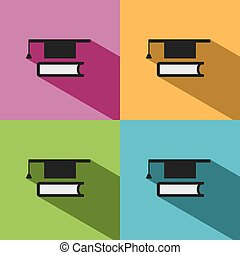 Mortarboard with book icon on colored backgrounds