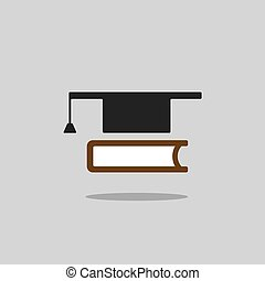 Mortarboard with book icon on grey background