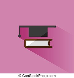 Mortarboard with book icon on pink background