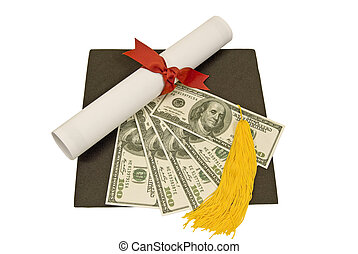 Mortarboard With Diploma and Money