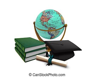 Mortarboard with Globe and Books