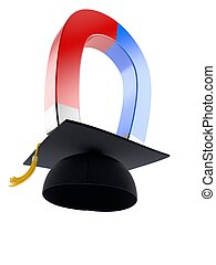 Mortarboard with horseshoe magnet