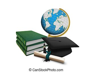 Mortarboard with Scroll and Books