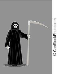 morte, carattere, illustrazione, mietitore, vettore, torvo
