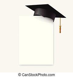 morteiro, boné, isolado, graduação, elemento, papel, experiência., vetorial, corner., tábua, desenho, branca, educação, ou