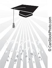 morteiro, em, graduação, em, cinzento