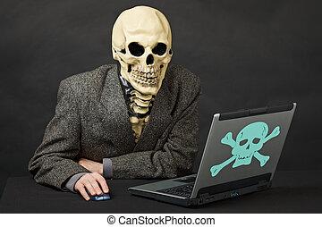 mortel, ordinateurs, internet, danger