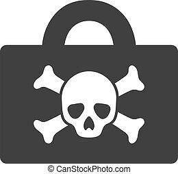 mortel, vecteur, icône, symbole, cas, plat