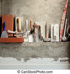 mortero, construcción, herramientas, cemento, albañil