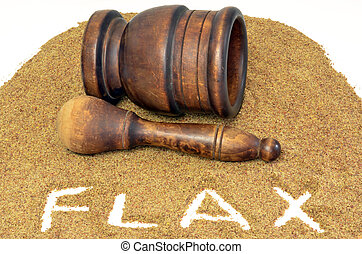 mortero, flaxseed, mano de mortero