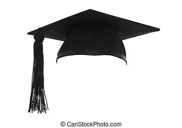 mortero, gorra, aislado, graduación, tabla, blanco