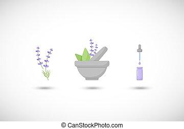mortero, hierbas, con, lavanda, vector, plano, icono,...