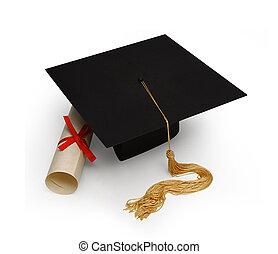 mortero, panel blanco, diploma, y