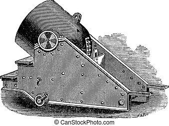 mortero, vendimia, cañón, engraving.