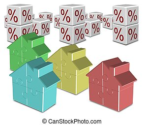 Mortgage and interest rates - A group of colorful jigsaw...