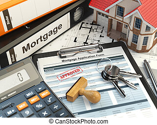 Mortgage application form with stamp approved, house, calculator and binders.