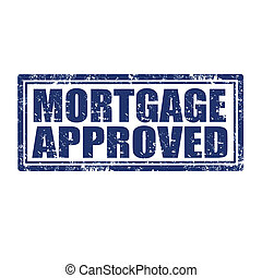 Mortgage Approved-stamp - Grunge rubber stamp with text...