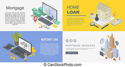 Mortgage banner set, isometric style