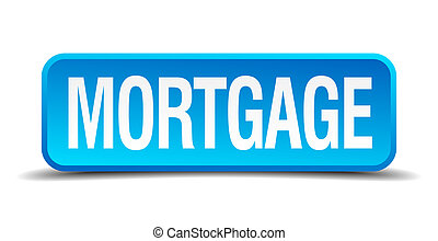 Mortgage blue 3d realistic square isolated button